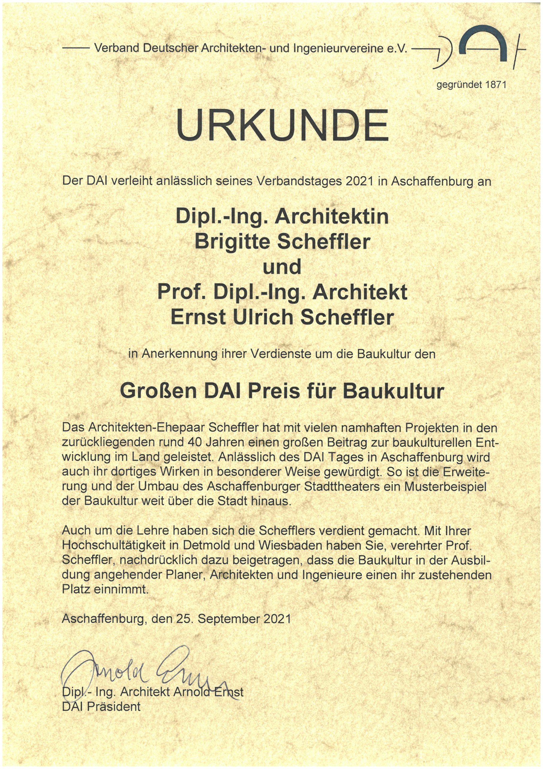Urkunde DAI Preis